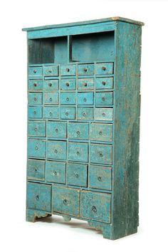 Vintage Style Wood Cabinet With Small Drawers. Reproduction Wood Cabinet, Small…