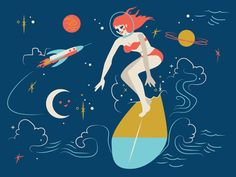 Milky Way Surf Illustration for Clothing Pattern