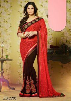 Brasso and Georgette Party Wear Red Chocolaty Bollywood Replica Zarine – USMART NY