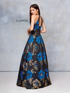 5007 - Black multi colored floral ball gown with a halter neckline