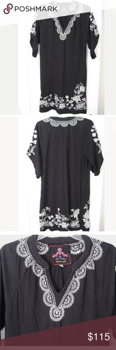 "Johnny Was JWLA Tunic Dress Gorgeous JWLA by Johnny Was Tunic dress, 100% cotton, hand embroidered in white on black, gorgeous embroidery details throughout on sleeves around neck and hem. So soft, relaxed Tunic fit could work for anyone size XS- M. Length is 35"" EUC. Johnny Was Dresses"