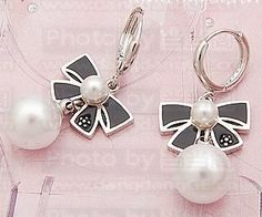 Cute Charming Pure Color Bowknot Pearl Earrings Black