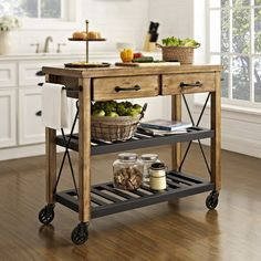 Roots Rack Kitchen Cart with Wood Top.