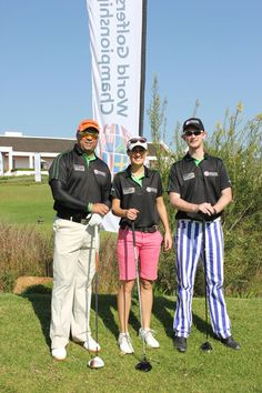 Our media 4-Ball at the 1st Western Cape elimination at DeZalze Golf Club - left to right Jeremy Harris (kFM), Tara Swart (Golf Digest) and David Taylor (Compleat Golfer)
