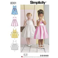 Adorable child's sleeveless dresses with two bodice options are perfect for spring holidays and parties. Skirt can be made with or without an overlay. Add a ribbon belt around the waist or opt for wider ties sewn in the side seam and tied at back. Simplicity sewing pattern.