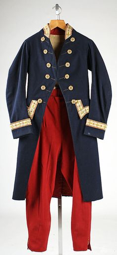 Suit of livery, wool, date given as early 19th century, Italian.