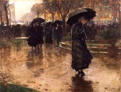 By Frederick Childe Hassam, 1890. That looks like Broadway and 14th Street behind the umbrella-wielding crowd. The painting belongs to the Museum of the City of New York.