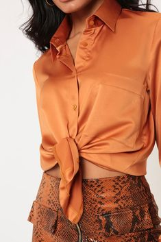 Rust satin shirt in an oversized fit with long sleeves, button front fastening and chest pocket. PolyesterMachine WashApprox Length: (based on a UK size 8 sample)Model wears a UK 8 and her height is Satin Shirt, Satin Blouses, Silk Satin, Rust, Mini Skirts, Orange, Lady, Long Sleeve, Model