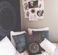 Pillows and tapestry