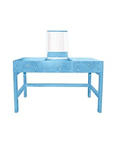 Beautiful Blue Vanity by Cabana DucDuc #colorfurniture cerused oak turquoise desk