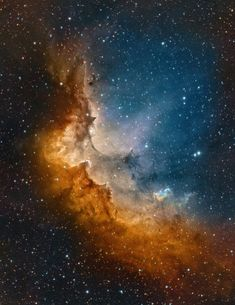 SH2-142: The Wizard Nebula, a diffuse nebula surrounding the star cluster NGC 7380. It spans about 140 by 75 ly and lies within our Milky Way Galaxy, about 7200 ly away in the constellation of Cepheus.