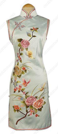 Graceful Peony Embroidered Knee Length Cheongsam : EastStore.com