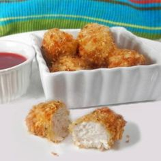 Baked Chicken Nuggets Recipe and Video - A Parmesan crust lifts these chicken nibbles above the ordinary. Serve alone or with an array of dipping sauces. Baked Chicken Nuggets, Chicken Nugget Recipes, Fried Chicken, Chicken Tenders, Chicken Breasts, Breaded Chicken, Chicken Wings, Bowls, Nuggets Recipe