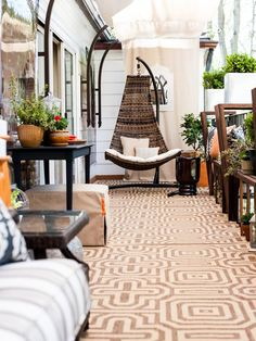 Outdoor Living Room With Fun Throw Pillows