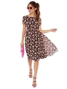 Ladies Style O Neck Short Sleeve Floral Dresses