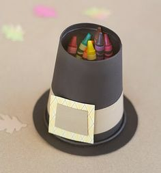 Pilgrim Hat Crayon Holder Turn construction paper and a paper cup into a fun crayon holder for your Thanksgiving table. Have each child make their own as a pre-dinner project. The post Pilgrim Hat Crayon Holder was featured on Fun Family Crafts. Kids Crafts, Thanksgiving Crafts For Kids, Thanksgiving Parties, Thanksgiving Activities, Thanksgiving Table, Thanksgiving Decorations, Fall Crafts, Holiday Crafts, Holiday Fun