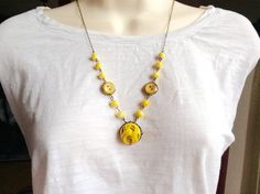 Honey woven button necklace by lastingattachments on Etsy                                                                                                                                                                                 More