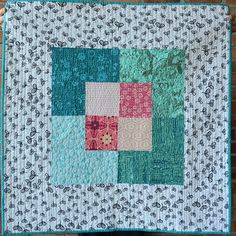 Canvas - Baby Quilt with Aqua / Pink byshecanquilt