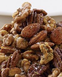 Wine Bar Fresh Herb & Nut Mix 2 cups pecans 2 cups almonds 2 cups walnuts 1/4 cup pure maple syrup 2 tablespoons extra-virgin olive oil 2 tablespoons finely minced mixed herbs, such as rosemary, sage, savory and thyme 1/4 teaspoon cayenne pepper Salt and freshly ground pepper