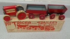 VINTAGE 1916 BABY TRACTOR and TRAILER By ANIMATE Tin Litho METAL WHEEL FARM TOY