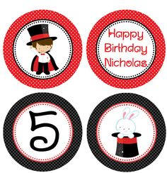 Items similar to DIY - Boy Magician Birthday Party Cupcake Toppers- Coordinating Items Available on Etsy Cupcake Party, Birthday Cupcakes, Birthday Party Themes, Magic Birthday, 9th Birthday, Magician Party, Magic Show, Believe In Magic, Circus Party