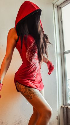 TOXIC VISION red hooded dress. I'd prefer it in black or white & wear as PJs!