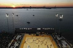 Nov. 9, 2012. The Ohio State Buckeyes bring the ball up court against the Notre Dame Fighting Irish, during the Carrier Classic college basketball game played on board the U.S.S. Yorktown in Charleston, S.C.