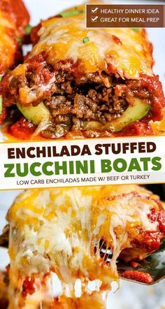 Enchilada Stuffed Zucchini Boats Enchilada zucchini boats are a great family dinner! Packed with protein and flavor, plus low in carbs, these enchiladas are the perfect healthier dinner recipe! Zucchini Dinner Recipes, Zuchinni Recipes, Healthy Dinner Recipes, Mexican Food Recipes, Low Carb Recipes, Beef Recipes, Cooking Recipes, Recipe Zucchini, Animals