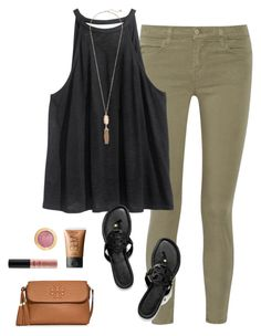 """""""OOTN"""" by prep-lover1 ❤ liked on Polyvore featuring J Brand, H&M, Kendra Scott, NARS Cosmetics, Milani, NYX and Tory Burch"""