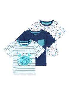 Update your little one's everyday essentials with this pack of sea themed t-shirts. Soft and comfortable, each short-sleeved t-shirt is finished with popper button fastenings at the shoulder for easy changes. White aqua print t-shirts Short-sleeved Round neck Popper button fastening One t-shirt with pocket Keep away from fire