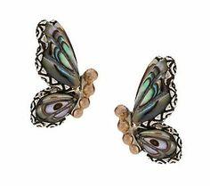 Barbara Bixby Sterling/18K Gemstone Butterfly Stud Earrings