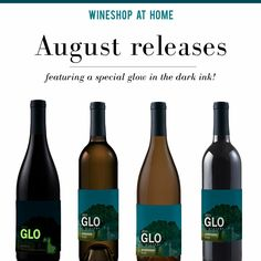 Ask me about WineShop At Home's upcoming August #wine releases! Wander the vineyards with GLO. Our GLO wines feature a special label with glow-in-the-dark ink. Hold GLO up to a light, or to the light of your phone's flashlight, to charge it up. Then dim the lights and let GLO enchant you and your friends!  http://wsah.org/v7t