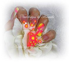 Matching nail art with nail polish jewelry. Airbrush Nail Art, Gel Nail Art, Gel Nails, Colorful Nail Designs, Beautiful Nail Designs, Nail Art Designs, Love Nails, Pink Nails, Pretty Nails