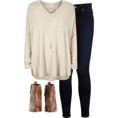 beige sweater, dark wash jeans, brown booties