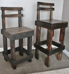 Pallet Wood Bar Stool with Back. Making three of these for the cost of stain!