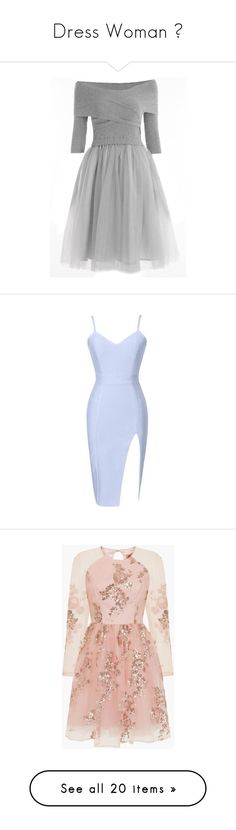 """Dress Woman ♡"" by broklless on Polyvore featuring dresses, bustier dress, blue bandage dress, blue slit dress, slit dress, v neck bandage dress, vestidos, rose gold, платья e rose gold sequin dress"