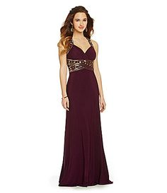 Hailey Logan Beaded Trim CrissCross Back Gown #Dillards. THIS IS SO GORGEOUS