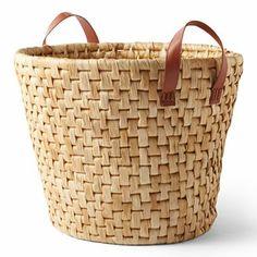 Dussert Graves Design Natural Corn Husk Storage Basket at jcpenney Corn Husk Crafts, Wicker Baskets With Handles, Michael Graves, Clothes Basket, Baby Girl Shower Themes, Art Bag, Basket Bag, Storage Baskets, Leather Handle