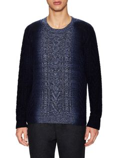 Wool Cashmere Lux Marled Cable Stitch Sweater