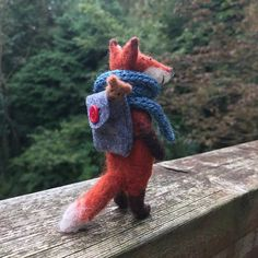 *CHRISTMAS NOTICE: Please note that if you order this product for delivery outside the UK it wont arrive before Christmas.* Meet Mr. Fox! This little fox was made out of Merino Wool using the dry needle felting process. He stands at approximately 12cm tall from the bottom of his #feltanimals