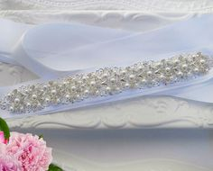 Pearl bridal belt Crystal Wedding sash  Pearl Ivy Collection