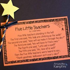 Free printable Halloween poem for teachers~In case you can use a wand! Halloween Teacher Gifts, Halloween Poems, Halloween Activities, Halloween Fun, Preschool Halloween, Holiday Activities, Preschool Activities, Halloween Decorations, Teacher Treats