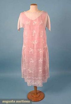 Augusta Auctions, May 2008 Vintage Fashion & Antique Textile Sale, Lot 553: Embroidered White Summer Dress, Mid 1920s