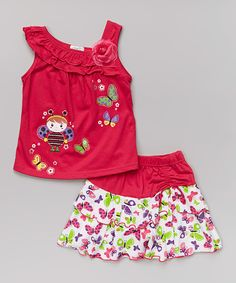 Look at this Fuchsia Bee Tank & Butterfly Skirt - Infant, Toddler & Girls on #zulily today!