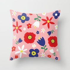Spring Flowers Floral Pattern on Pink Throw Pillow by PELA - Cover x with pillow insert - Indoor Pillow Pink Throw Pillows, Pillow Design, Spring Flowers, Pillow Inserts, Bedrooms, Stationery, Patio, Wall Art, Floral