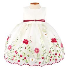 Ivory Floral Embroidered Organza Baby Dress
