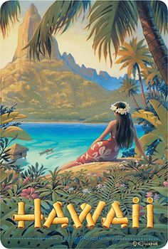 Hawaiian Vintage Postcards Pack of 30 - Hawaii - Isle of Paradise by Kerne Erickson Hawaii Vintage, Vintage Hawaiian, Vintage Beach Photos, Vintage Travel Posters, Vintage Postcards, Vintage Ski, Art Deco Posters, Poster Prints, Hawaiian Art