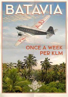 Vintage Travel Poster - Batavia - Netherlands-Indies - KLM = Royal Dutch Airlines.