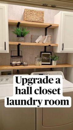Small Laundry Rooms, Laundry Room Design, Laundry In Bathroom, Budget Bathroom, Shelves For Laundry Room, Laundry Room Countertop, Laundry Room Cabinets, Small Bathroom, Bathroom Ideas
