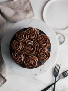 One-Bowl Chocolate Rose Cake (For Two)